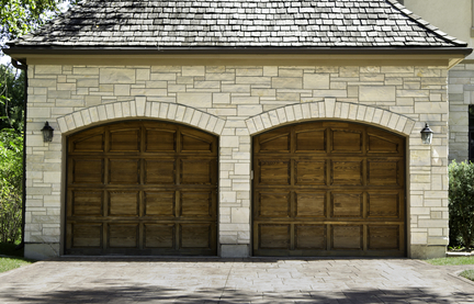 Typical two car wooden oak car garage